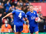Jamie Vardy (R) oal with his team mate Danny Drinkwater (L) during the Barclays Premier League match between Southampton and Leicester City at St Mary's Stadium on October 17, 2015
