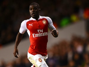 Joel Campbell of Arsenal in action during the Capital One Cup Third Round match between Tottenham Hotspur and Arsenal at White Hart Lane on January 23, 2015 in London, England.