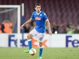 Jorginho of Napoli in action during the UEFA Europa League match between Napoli and Club Brugge KV on September 17, 2015