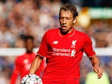 Lucas Leiva of Liverpool in action during the Barclays Premier League match between Everton and Liverpool at Goodison Park on October 4, 2015 in Liverpool, England.