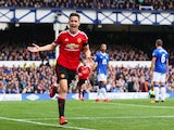 Ander Herrera of Manchester United celebrates scoring his team's second goal during the Barclays Premier League match between Everton and Manchester United at Goodison Park on October 17, 2015