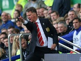 Louis van Gaal manager of Manchester United argues with the fourth official during the Barclays Premier League match between Everton and Manchester United at Goodison Park on October 17, 2015