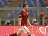 Miralem Pjanic of AS Roma celebrates after scoring the opening goal during the Serie A match between AS Roma and Empoli FC at Stadio Olimpico on October 17, 2015 in Rome, Italy.