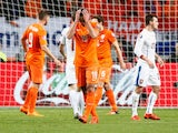 Robin van Persie of the Netherlands (19) reacts during the UEFA EURO 2016 qualifying Group A match between the Netherlands and the Czech Republic at Amsterdam Arena on October 13, 2015