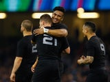 Julian Savea celebrates with teammates after scoring a try during New Zealand's quarter-final victory over France at the Rugby World Cup