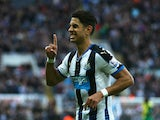 Ayoze Perez of Newcastle United celebrates as he scores their third goal during the Barclays Premier League match between Newcastle United and Norwich City at St James' Park on October 18, 2015 in Newcastle upon Tyne, England.