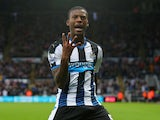 Georginio Wijnaldum of Newcastle United celebrates as he scores their sixth goal and his fourth during the Barclays Premier League match between Newcastle United and Norwich City at St James' Park on October 18, 2015