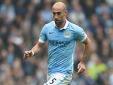 Pablo Zabaleta of Manchester City in action the Barclays Premier League match between Manchester City and Newcastle United at Etihad Stadium on October 3, 2015 in Manchester, United Kingdom.