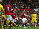Rio Ferdinand of Manchester United scores his team's second goal during the Barclays Premiership match between Manchester United and Liverpool at Old Trafford on October 22, 2006 in Manchester, England.