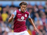Rudy Gestede of Aston Villa in action during the Barclays Premier League match between Aston Villa and Stoke City at Villa Park on October 3, 2015 in Birmingham, United Kingdom.