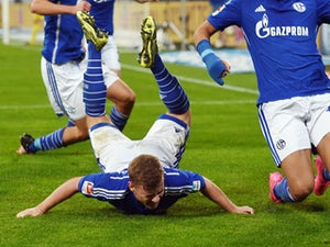 Schalke's midfielder Max Meyer celebrates during the German first division Bundesliga football match FC Schalke 04 vs Hertha BSC Berlin in Gelsenkirchen, western Germany, on October 17, 2015