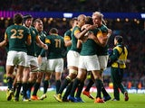 The South Africa team celebrates the try of Fourie Du Preez of South Africa during the 2015 Rugby World Cup Quarter Final match between South Africa and Wales at Twickenham Stadium on October 17, 2015 in London, United Kingdom.