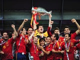 Captain Iker Casillas of Spain lifts the trophy after victory during the UEFA EURO 2012 final match between Spain and Italy at the Olympic Stadium on July 1, 2012