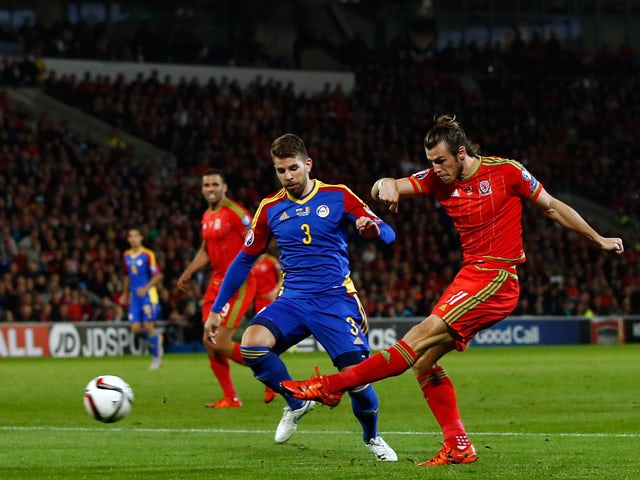 Wales player Gareth Bale shoots at goal during the UEFA EURO 2016 Group B Qualifier between Wales and Andorra at Cardiff City stadium on October 13, 2015