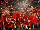 Wales player Gareth Bale and team mates celebrate after the UEFA EURO 2016 Group B Qualifier between Wales and Andorra at Cardiff City stadium on October 13, 2015