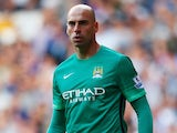 Wilfredo Caballero of Manchester City looks on during the Barclays Premier League match between Tottenham Hotspur and Manchester City at White Hart Lane on September 26, 2015 in London, United Kingdom.