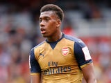 Alex Iwobi of Arsenal looks on during the Emirates Cup match between Arsenal and Olympique Lyonnais at the Emirates Stadium on July 25, 2015 in London, England.
