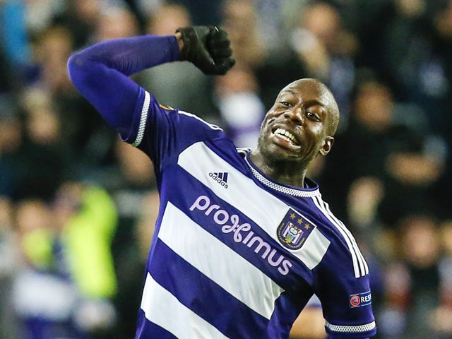 Anderlecht's Stefano Okaka celebrates after scoring the 2-1 goal during the UEFA Europa League Group J football match between RSC Anderlecht and Tottenham Hotspur FC at the Constant Vanden Stock Stadium in Brussels, on October 22, 2015