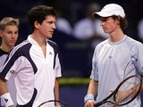Andy Murray and Tim Henman are seen on court during their match as part of the Davidoff Swiss Indoors at the St. Jakobhalle on October 26, 2005