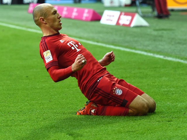 Bayern Munich's Dutch midfielder Arjen Robben celebrates scoring during the German first division football Bundesliga match between FC Bayern Munich and FC Cologne on October 24, 2015
