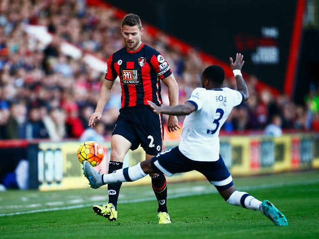 Simon Francis of Bournemouth is challenged by Danny Rose of Tottenham Hotspur during the Barclays Premier League match between A.F.C. Bournemouth and Tottenham Hotspur at Vitality Stadium on October 25, 2015 in Bournemouth, England.