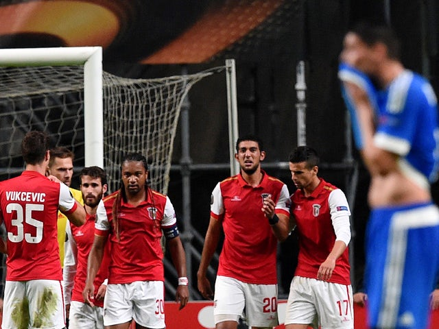 Sporting Braga's Egiptian forward Ahmed Hassan (3R) celebrates with teammates after scoring the opening goal during the Europa League football match SC Braga vs Olympique de Marseille (OM) at the Estadio Municipal de Braga in Braga on October 22, 2015