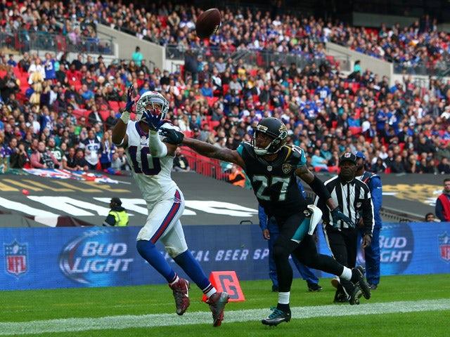 Robert Woods #10 of Buffalo Bills scores a touchdown during the NFL match between Jacksonville Jaguars and Buffalo Bills at Wembley Stadium on October 25, 2015