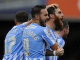 Romain Vincelot of Coventry City (R) celebrates his sides first goal during the Sky Bet League One match between Swindon Town and Coventry City at The County Ground on October 24, 2015