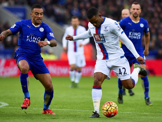 Jason Puncheon of Crystal Palace and Danny Simpson of Leicester City compete for the ball during the Barclays Premier League match between Leicester City and Crystal Palace at The King Power Stadium on October 24, 2015
