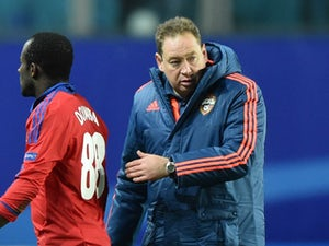 CSKA Moscow's Russian coach Leonid Slutsky reacts after the UEFA Champions League group B football match between PFC CSKA Moscow and FC Manchester United at the Arena Khimki stadium outside Moscow on October 21, 2015.
