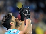 Zenit's Brazilian forward Hulk celebrates after scoring a goal during the UEFA Champions League group H football match between FC Zenit and Olympique Lyonnais at the Petrovsky stadium in St. Petersburg on October 20, 2015.