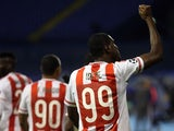Olympiakos' Nigerian forward Ideye Brown celebrates scoring during the UEFA Champions League football match between Dinamo Zabreb and Olympiakos at the Stadion Maksimir stadium in Zagreb on October 20, 2015.