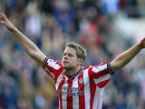 James Beattie of Southampton celebrates his third goal during the FA Barclaycard Premiership match between Southampton and Fulham held on October 27, 2002 at the The Friends Provident St Mary's Stadium, in Southampton, England. Southampton won the match 4