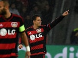 Leverkusen's Mexican striker Javier Hernandez celebrates scoring during the Group E, first-leg UEFA Champions League football match Bayer Leverkusen vs AS Roma in Leverkusen, western Germany on October 20, 2015.