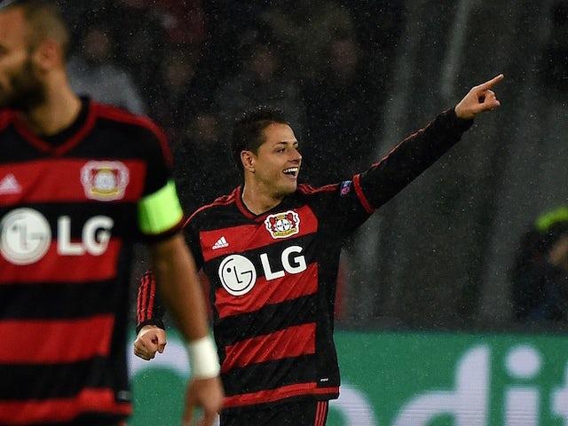 Leverkusen's Mexican striker Javier Hernandez celebrates scoring during the Group E, first-leg UEFA Champions League football match Bayer Leverkusen vs AS Roma in Leverkusen, western Germany on October 20, 2015.
