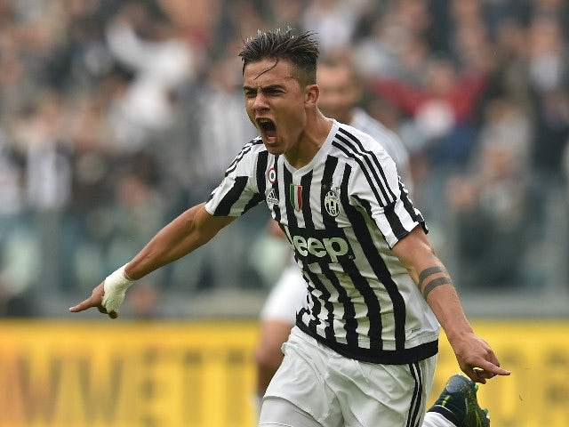 Paulo Dybala of Juventus FC celebrates the opening goal during the Serie A match between Juventus FC and Atalanta BC at Juventus Arena on October 25, 2015 in Turin, Italy.