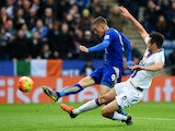 Jamie Vardy of Leicester City scores his team's opening goal during the Barclays Premier League match between Leicester City and Crystal Palace at The King Power Stadium on October 24, 2015