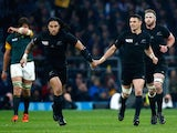 Ma'a Nonu of the New Zealand All Blacks and Dan Carter of the New Zealand All Blacks touch hands during the 2015 Rugby World Cup Semi Final match between South Africa and New Zealand at Twickenham Stadium on October 24, 2015 in London, United Kingdom.