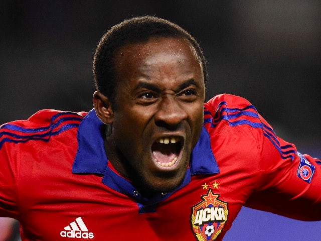 CSKA Moscow's Ivorian forward Seydou Doumbia celebrates after scoring a goal during the UEFA Champions League group B football match between PFC CSKA Moscow and FC Manchester United at the Arena Khimki stadium outside Moscow on October 21, 2015.