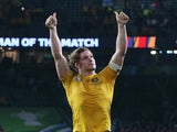 Michael Hooper of Australia celebrates after winning the 2015 Rugby World Cup Semi Final match between Argentina and Australia at Twickenham Stadium on October 25, 2015