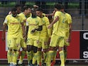 Nantes' French midfielder Adrien Thomasson celebrates with teammates after scoring a goal during the French L1 football match between Caen (SM Caen) and Nantes (FC Nantes), on October 23, 2015