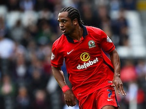 Nathan Delfouneso of Blackburn in action during the Sky Bet Football League Championship match between Fulham and Blackburn Rovers at Craven Cottage on September 13, 2015