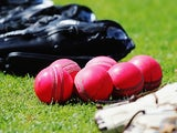 New pink cricket balls are seen during a New Zealand cricket training session at Seddon Park on October 8, 2015 in Hamilton, New Zealand. The new pink ball will be used during the upcoming test series against Australia.