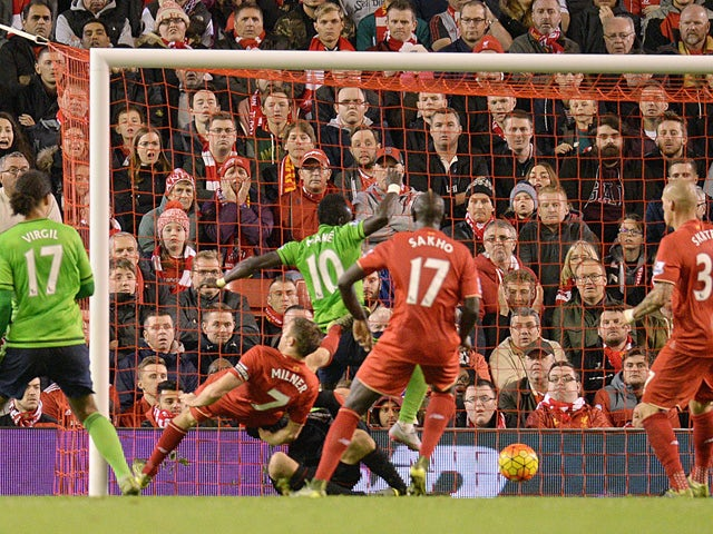 Southampton's Senegalese midfielder Sadio Mane (4th L) scores their first goal during the English Premier League football match between Liverpool and Southampton at Anfield stadium in Liverpool, north west England on October 25, 2015