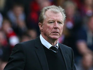 Newcastle United manager Steve McLaren stands on the side line with his fingers crossed as his team are 2 goals down during the Barclays Premier League match between Sunderland AFC and Newcastle United FC at the Stadium of Light on October 25, 2015 in Sun
