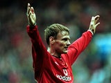 Teddy Sheringham of Manchester United celebrates scoring the second goal during the FA Carling Premiership game between Manchester United and Southampton at Old Trafford, Manchester.