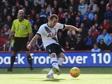 Harry Kane of Tottenham Hotspur scores his team's first goal from the penalty spot during the Barclays Premier League match between A.F.C. Bournemouth and Tottenham Hotspur at Vitality Stadium on October 25, 2015 in Bournemouth, England.