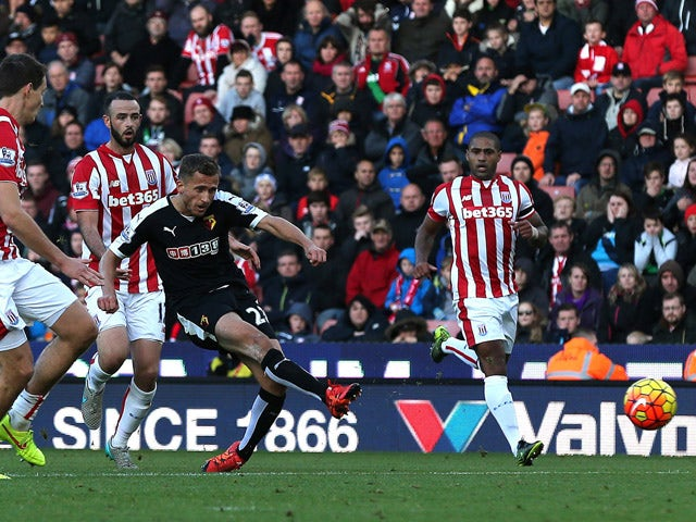 Alman Abdi of Watford scores his side's second goal during the Barclays Premier League match between Stoke City and Watford on October 24, 2015