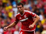Yanic Wildschut of Middlesbrough in action during the Sky Bet Championship match between Middlesbrough v Bristol City at Riverside Stadium on August 22, 2015