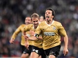 Juventus' forward Alessandro Del Piero (R) celebrates his second goal against Real Madrid during their Champions League football match at Santiago Bernabeu stadium in Madrid on November 5, 2008.